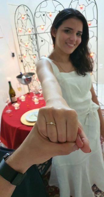 anel de noivado em ouro 18k e diamantes