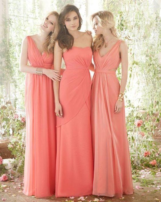 vestidos de madrinhas na cor coral