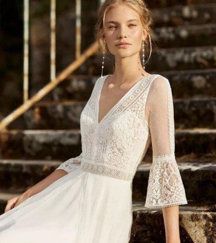 vestido com renda noiva boho