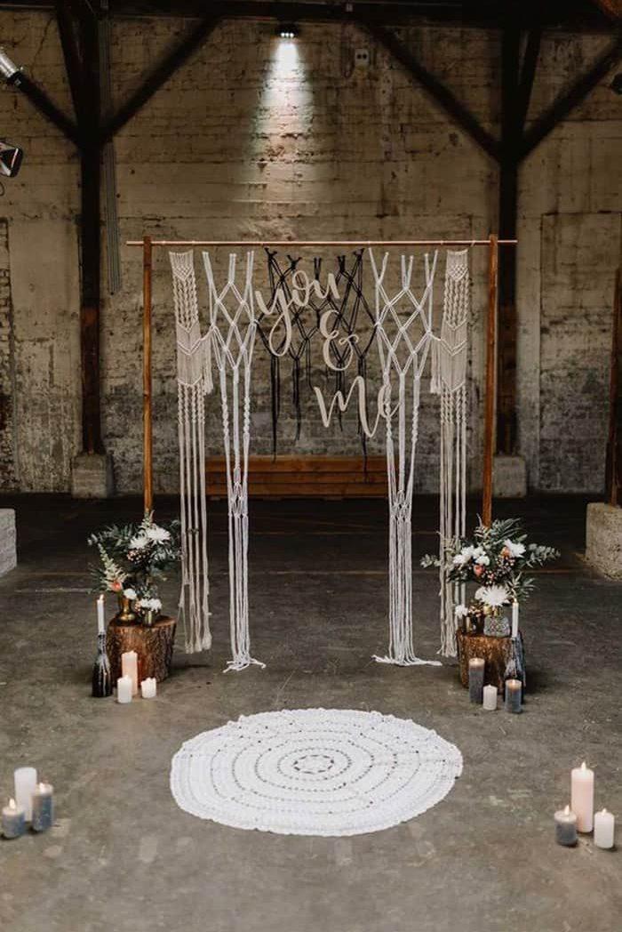 arco de macramê para casamento